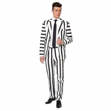 Carnavals outfit heren zwart wit gestreept