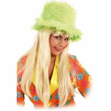 Carnavalshoed groen van pluche