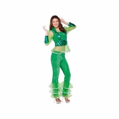 Carnavalskostuum disco groen voor dames