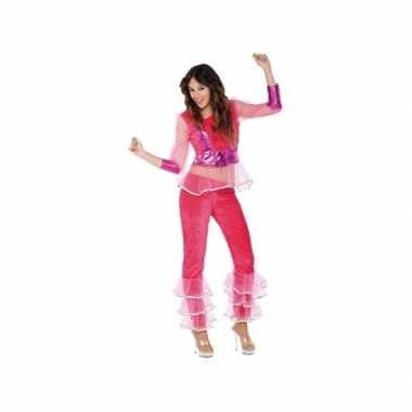 Carnavalskostuum disco roze voor dames