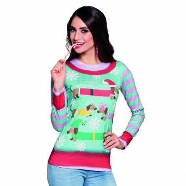 Carnavalskostuum kerstprint dames shirt 10075237