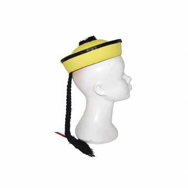 Chinese hoed geel met vlecht