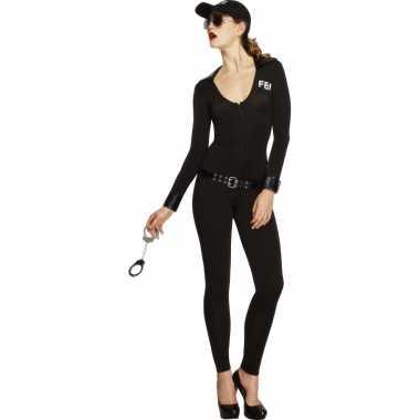 Compleet fbi outfit voor dames zwart