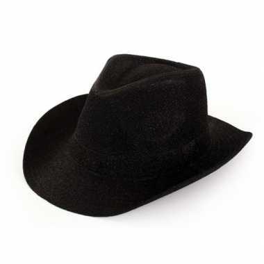 Cowboyhoed zwart glitter voor volwassenen
