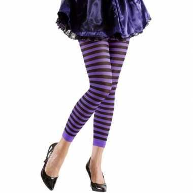 Dames legging paars met zwart