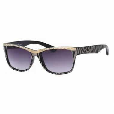 Dames zonnebril tijgerprint zwart