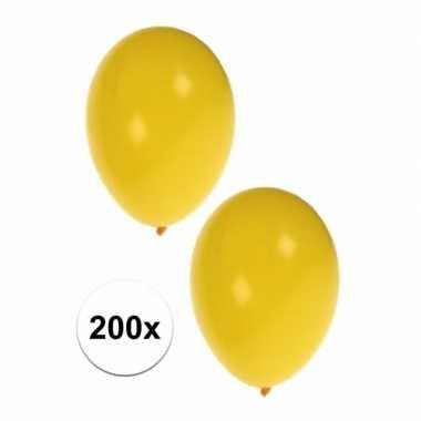 Decoratie ballonnen geel 200 stuks