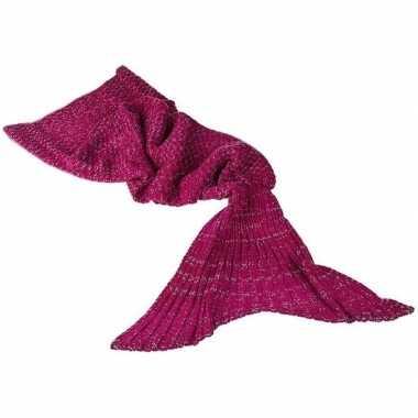 Donker roze gebreide zeemeermin deken voor meisjes 140 cm