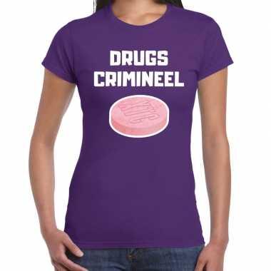 Drugs crimineel verkleed t shirt paars voor dames