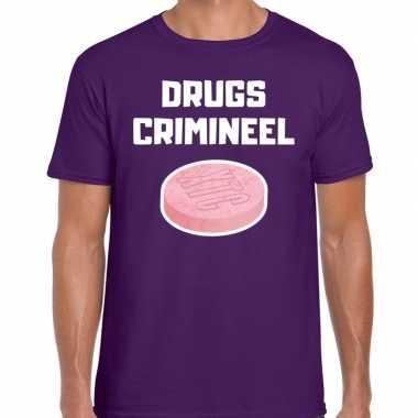 Drugs crimineel verkleed t shirt paars voor heren