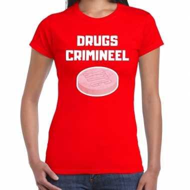 Drugs crimineel verkleed t shirt rood voor dames