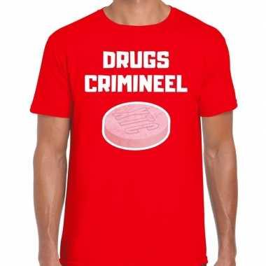 Drugs crimineel verkleed t shirt rood voor heren