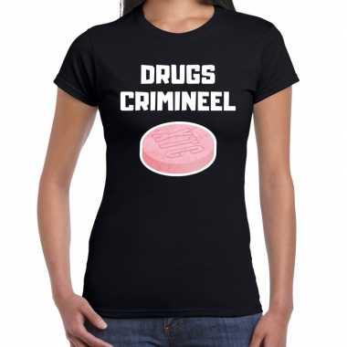 Drugs crimineel verkleed t shirt zwart voor dames