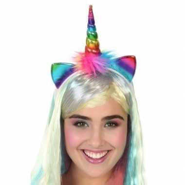 Eenhoorn verkleed diadeem regenboog voor dames