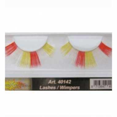 Feest nep wimpers in het rood wit geel
