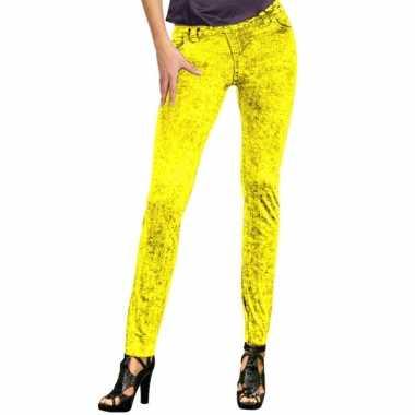 Feestkleding jeans legging neon geel