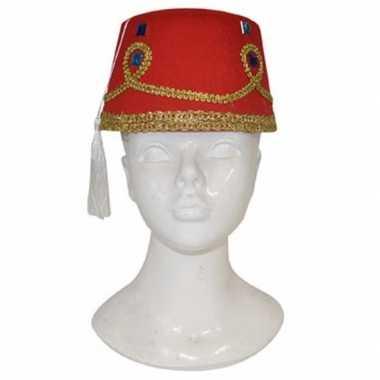 Fez hoed met decoratie voor volwassenen