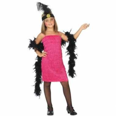 Flapper franje verkleed kostuum/jurkje roze voor meisjes