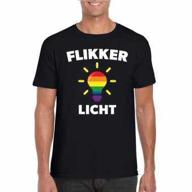 Flikker licht shirt met regenboog lampje zwart heren