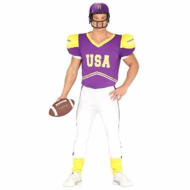 Football kostuum paars/geel voor heren
