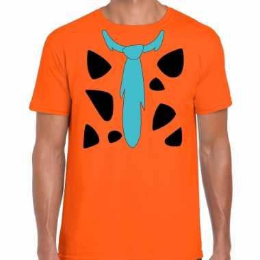 Fred holbewoner kostuum t shirt oranje voor heren