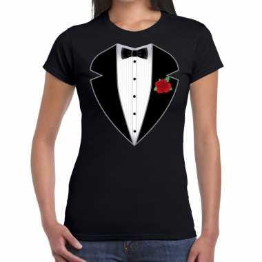 Gangster / maffia pak kostuum t shirt zwart voor dames