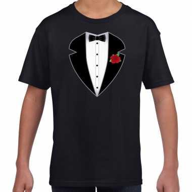 Gangster / maffia pak kostuum t shirt zwart voor kinderen