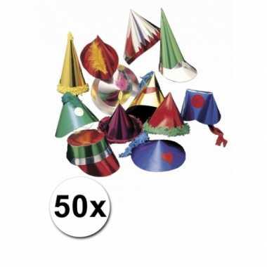 Gekleurd feesthoedje 50 stuks