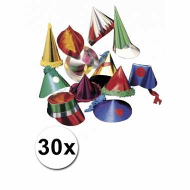 Gekleurde feesthoedjes 30 stuks