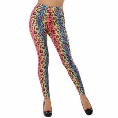 Gekleurde luipaard verkleed legging voor dames