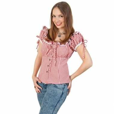 Geruite cowgirl overhemd voor dames rood/wit