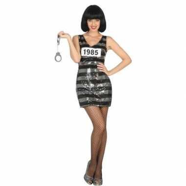 Gevangene/boef ann verkleed kostuum/jurk zwart/zilver voor dames