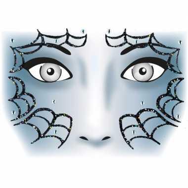 Gezicht stickers spinnenweb 1 vel