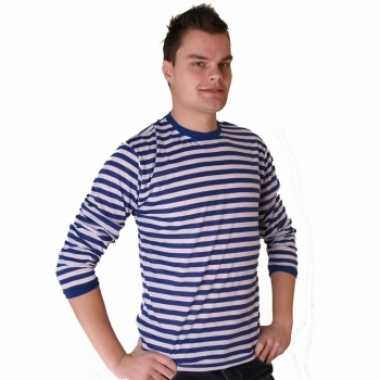 Gondelier shirt blauw met wit voor heren