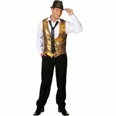 Goud disco vestje met pailletten
