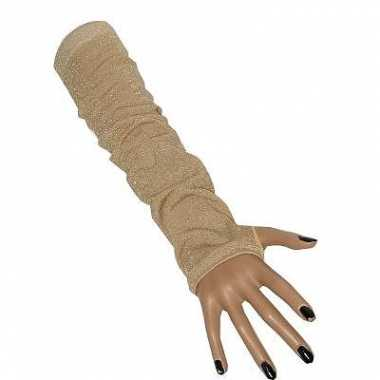 Goude fluwelen lange handschoenen