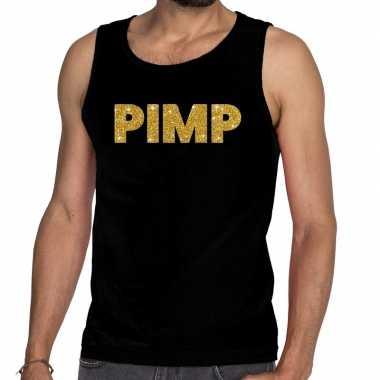 Gouden pimp glitter tanktop / mouwloos shirt zwart heren