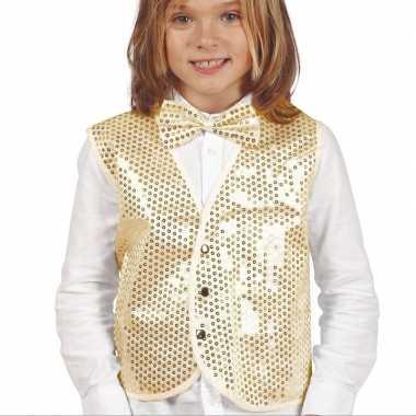 Gouden verkleed gilet met pailletten voor kinderen
