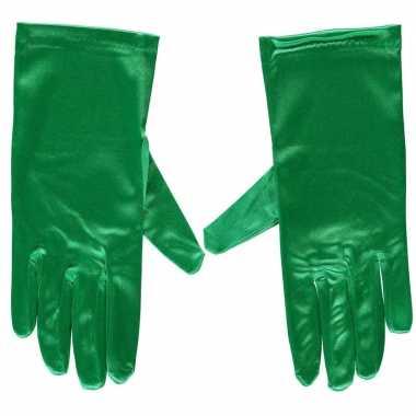Groene gala handschoenen kort van satijn 20 cm