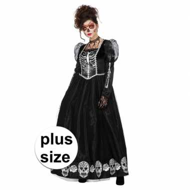 Grote maat day of the dead halloween gothic jurk voor dames