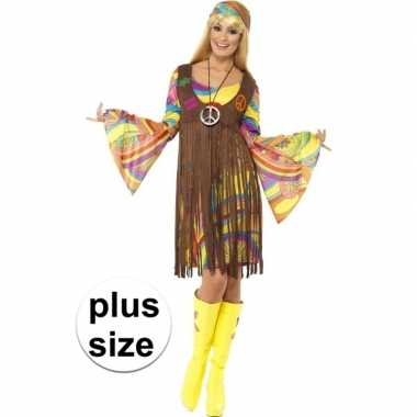 Grote maat hippie jurkje met gilet voor dames