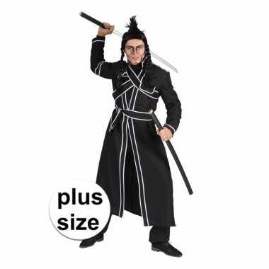 Grote maat zwart samoerai verkleed kostuum voor heren