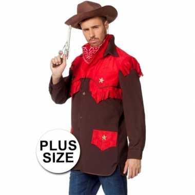 Grote maten feest cowboy kleding shirt voor heren