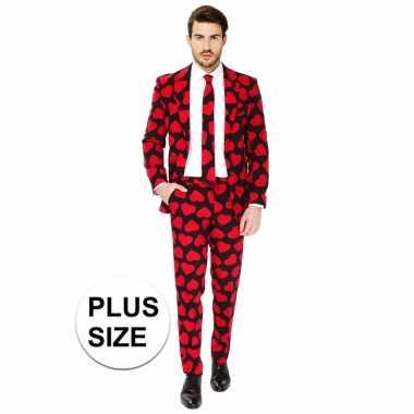 Grote maten heren verkleed pak/kostuum rode hartjes print