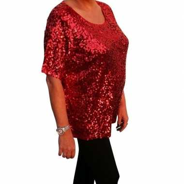 Grote maten rode glitter pailletten disco shirt dames xl