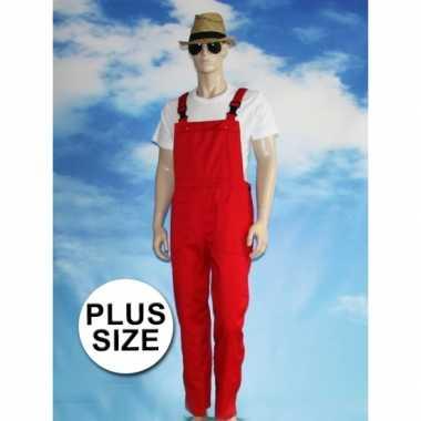 Grote maten rode tuinbroek overall voor volwassenen