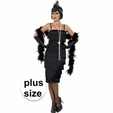 Grote maten zwarte jaren 20 flapper jurk lang voor dames