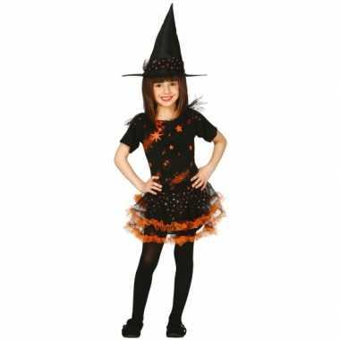 Halloween heksenjurk met hoed voor kinderen oranje