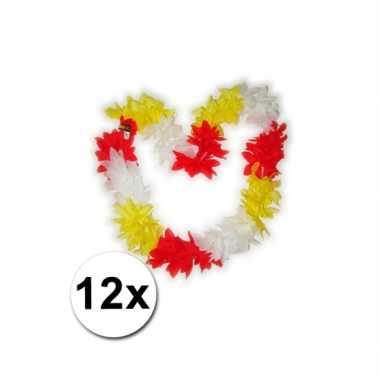 Hawaii kransen rood / wit / geel 12 st