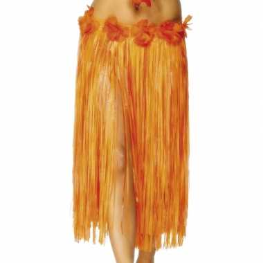 Hawaii rokje oranje met rode bloem